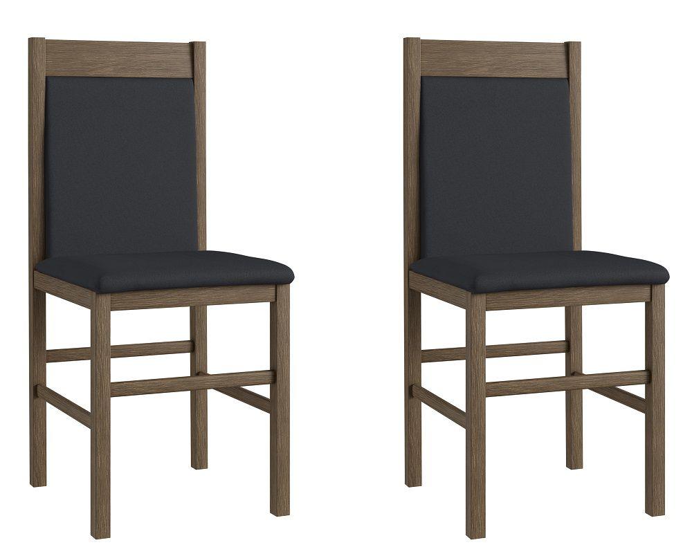 Conjunto de 2 Cadeiras 600 Móveis Canção Ameixa Negra e Preto