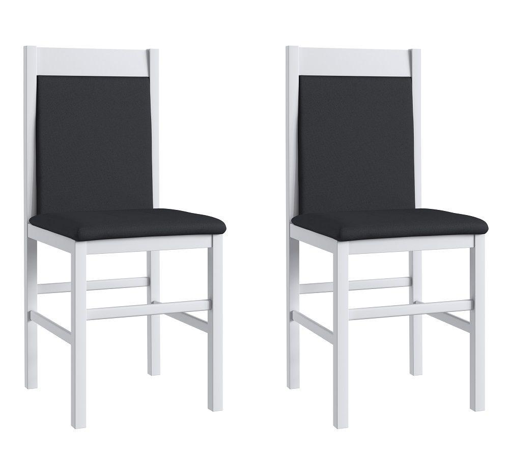 Conjunto de 2 Cadeiras 600 Móveis Canção Branco e Preto
