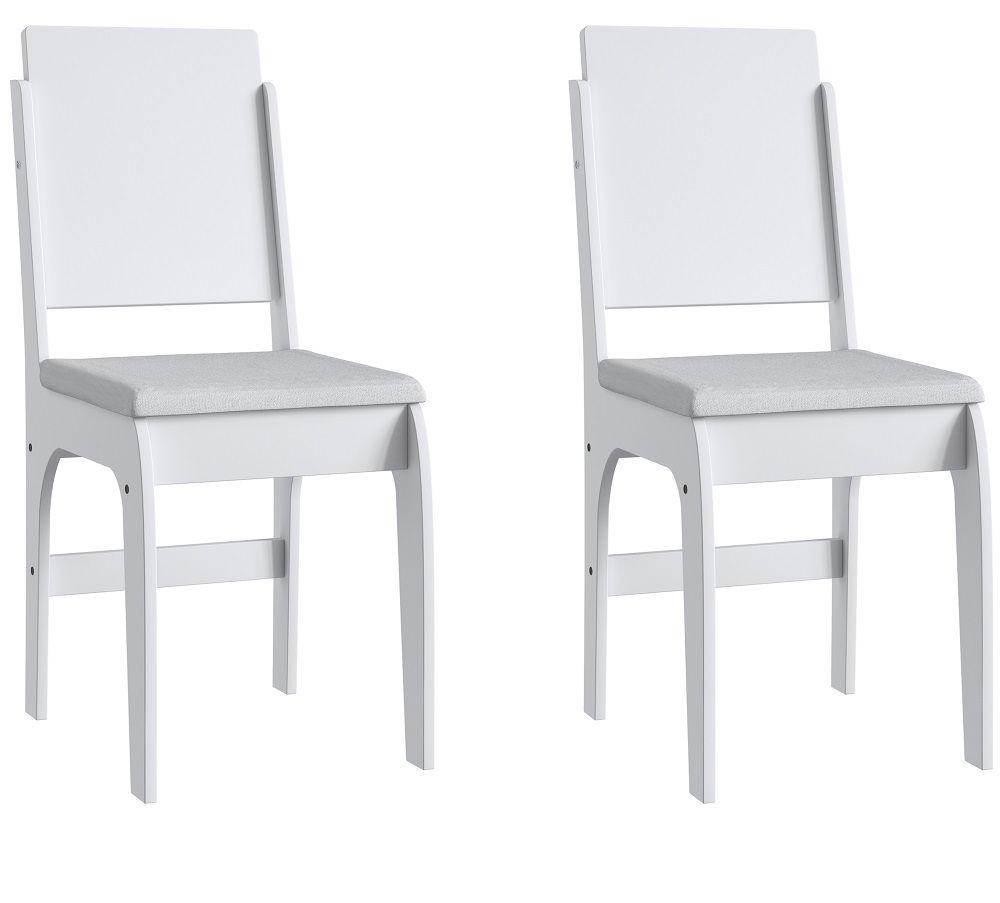 Conjunto de 2 Cadeiras 916 Móveis Canção Branco