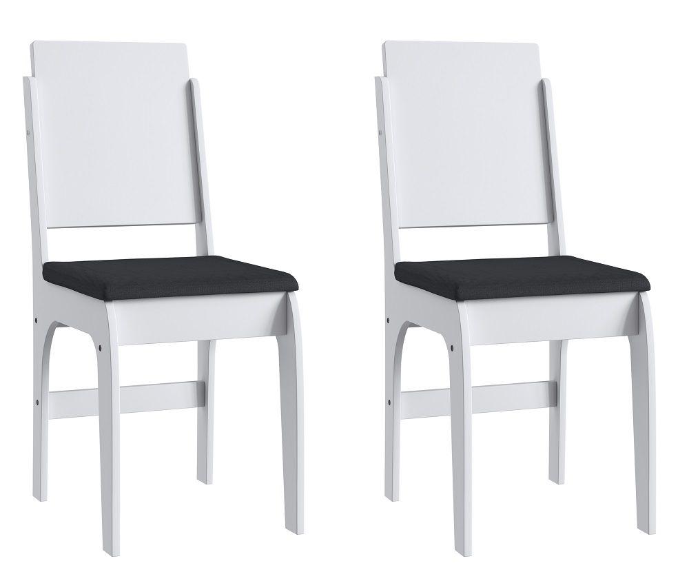 Conjunto de 2 Cadeiras 916 Móveis Canção Branco e Preto