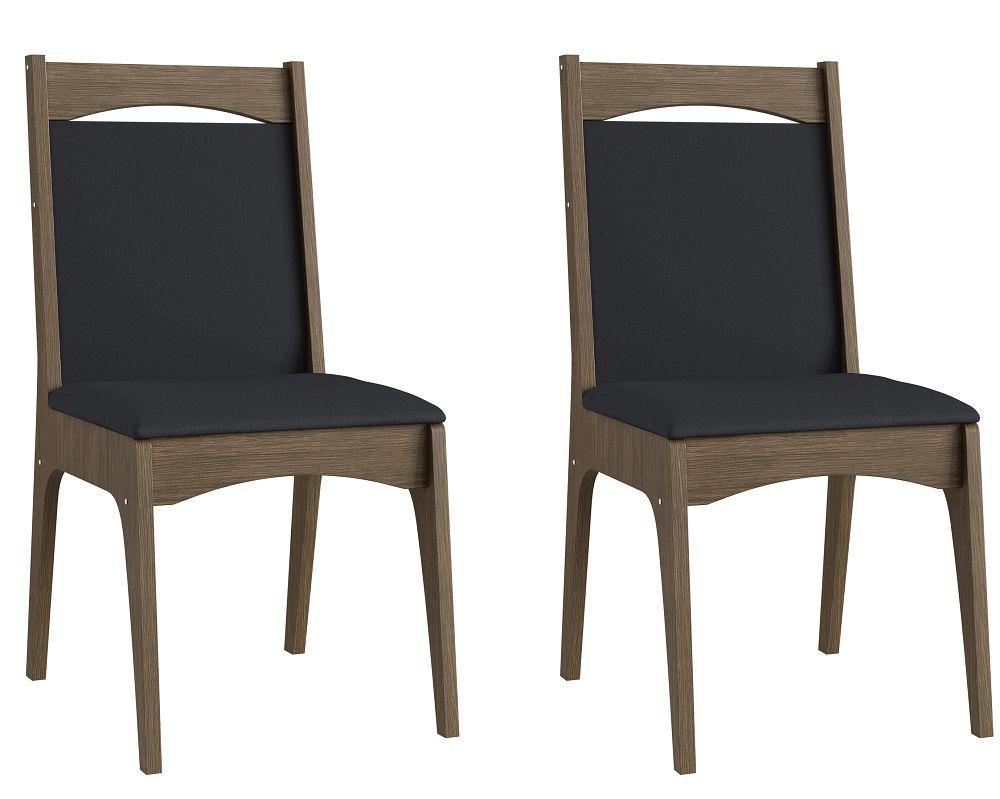 Conjunto de 2 Cadeiras Estofadas 917 Móveis Canção Ameixa Negra e Preto