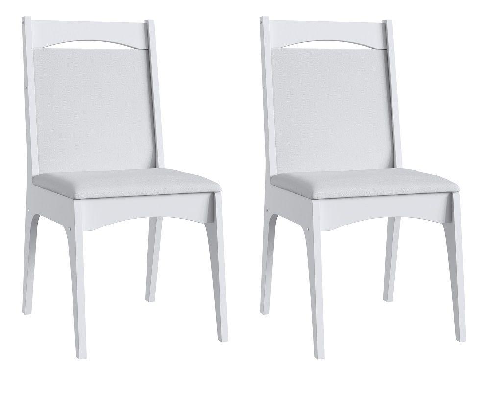 Conjunto de 2 Cadeiras Estofadas 917 Móveis Canção Branco