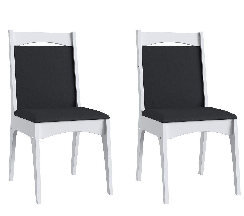 Conjunto de 2 Cadeiras Estofadas 917 Móveis Canção Branco e Preto