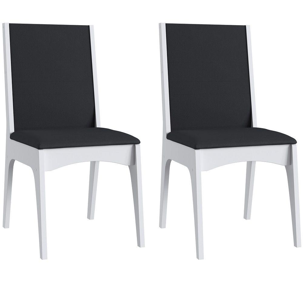 Conjunto de 2 Cadeiras Estofadas 918 Móveis Canção  Branco e Preto