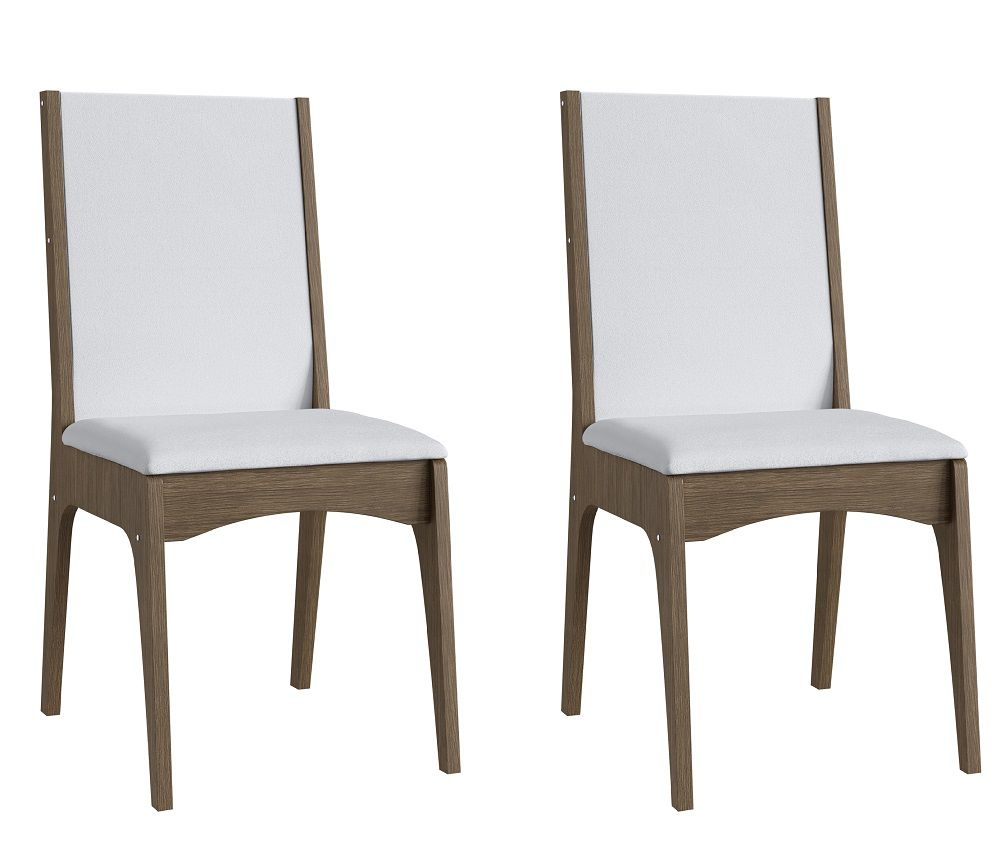 Conjunto de 2 Cadeiras Estofadas 918 Móveis Canção Ameixa Negra e Branco