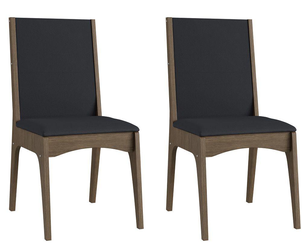 Conjunto de 2 Cadeiras Estofadas 918 Móveis Canção Ameixa Negra e Preto
