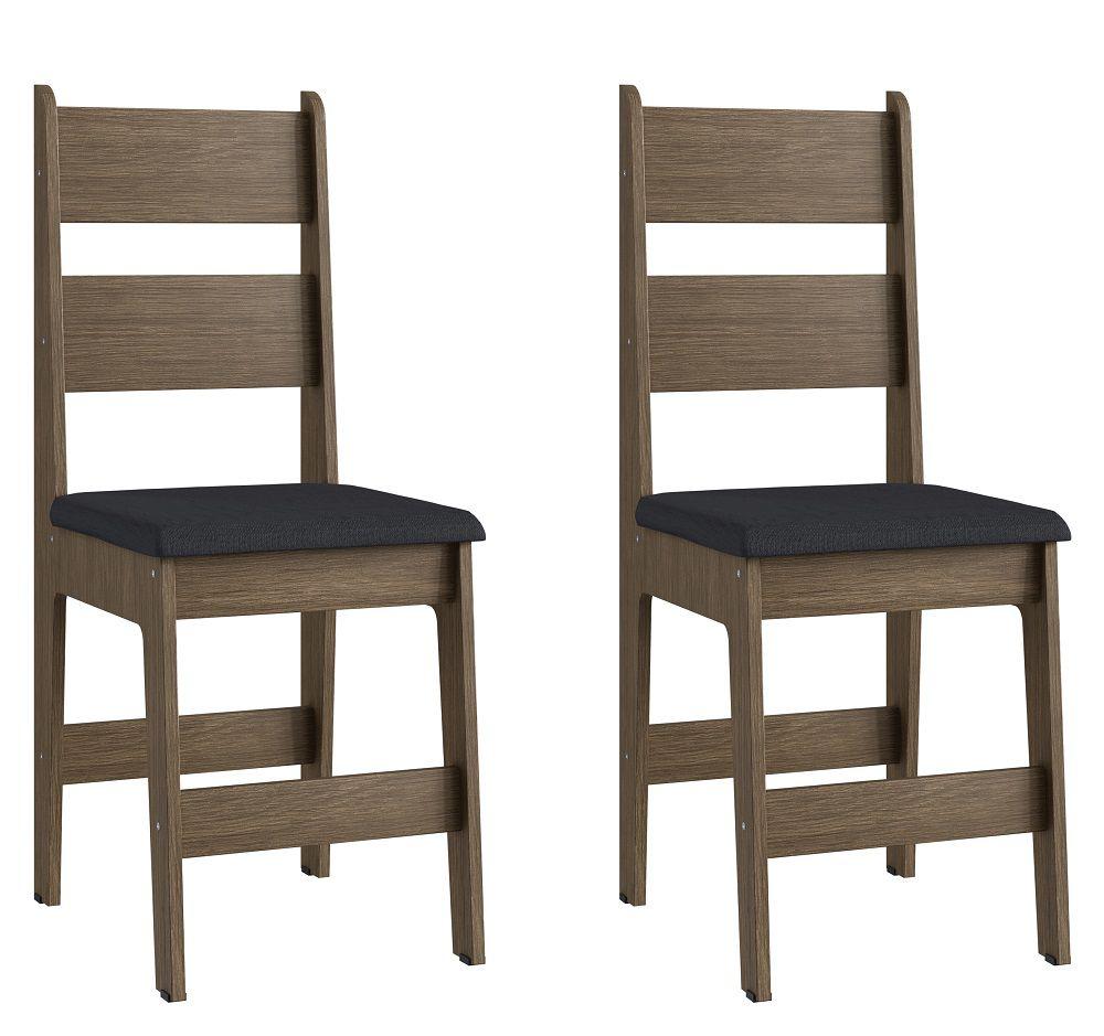 Conjunto de 2 Cadeiras Milano 903 Móveis Canção Ameixa Negra e Preto