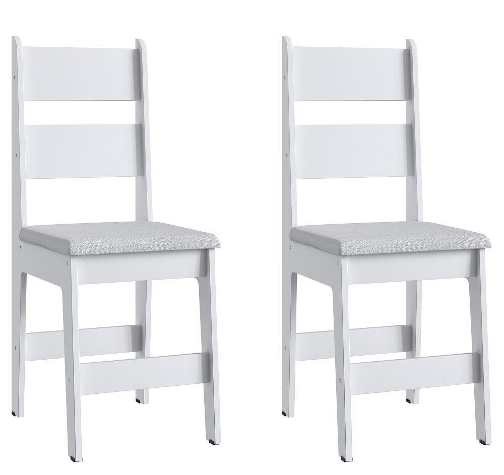 Conjunto de 2 Cadeiras Milano 903 Móveis Canção Branco