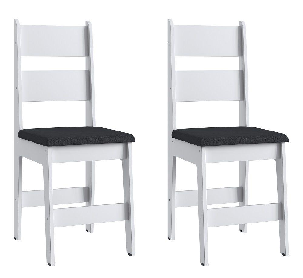 Conjunto de 2 Cadeiras Milano 903 Móveis Canção Branco e Preto