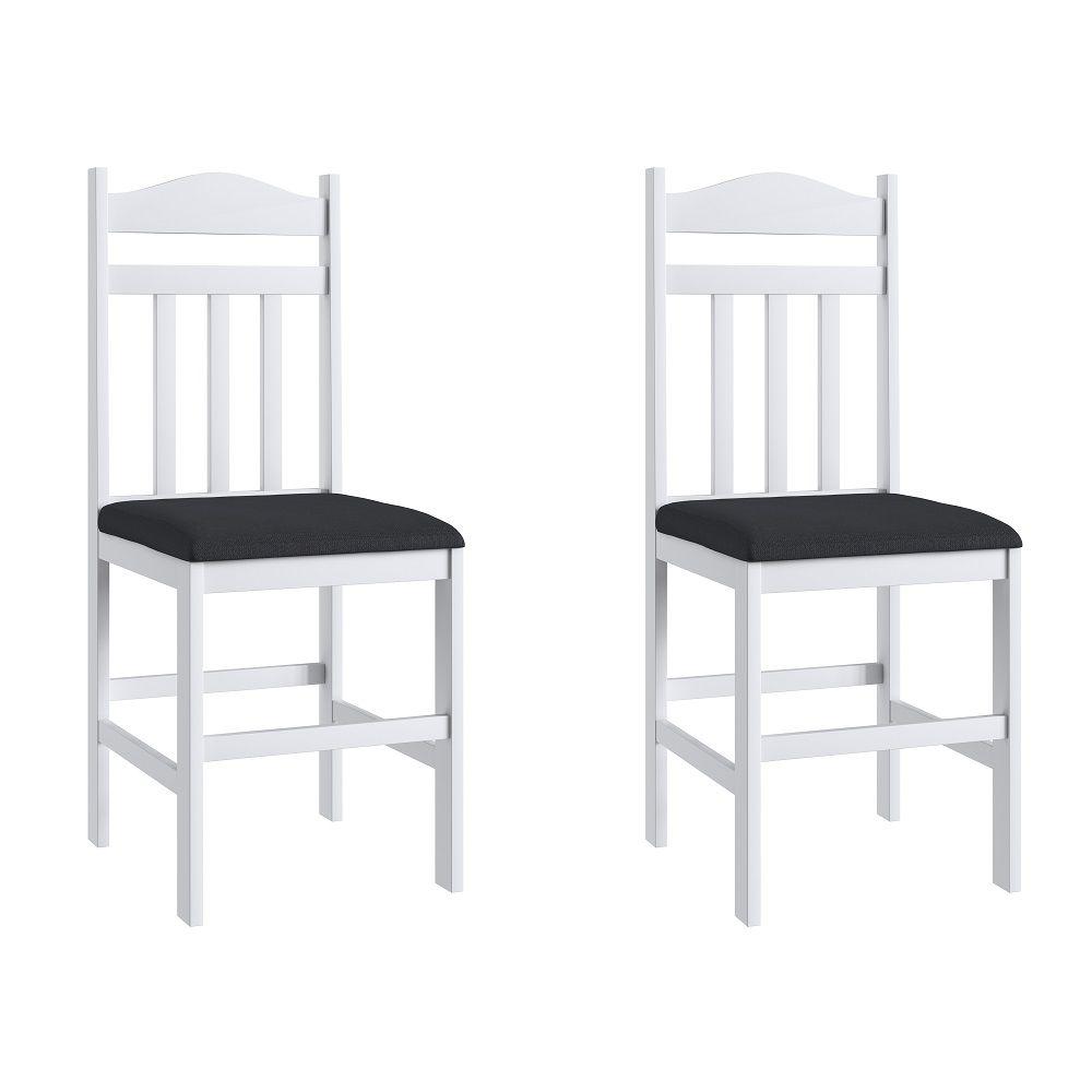 Conjunto de 2 Cadeiras 200  Móveis Canção Preto e Branco