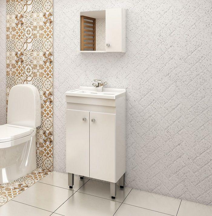 Conjunto de Banheiro com 3 Portas e Prateleira Móvel Ozini Branco