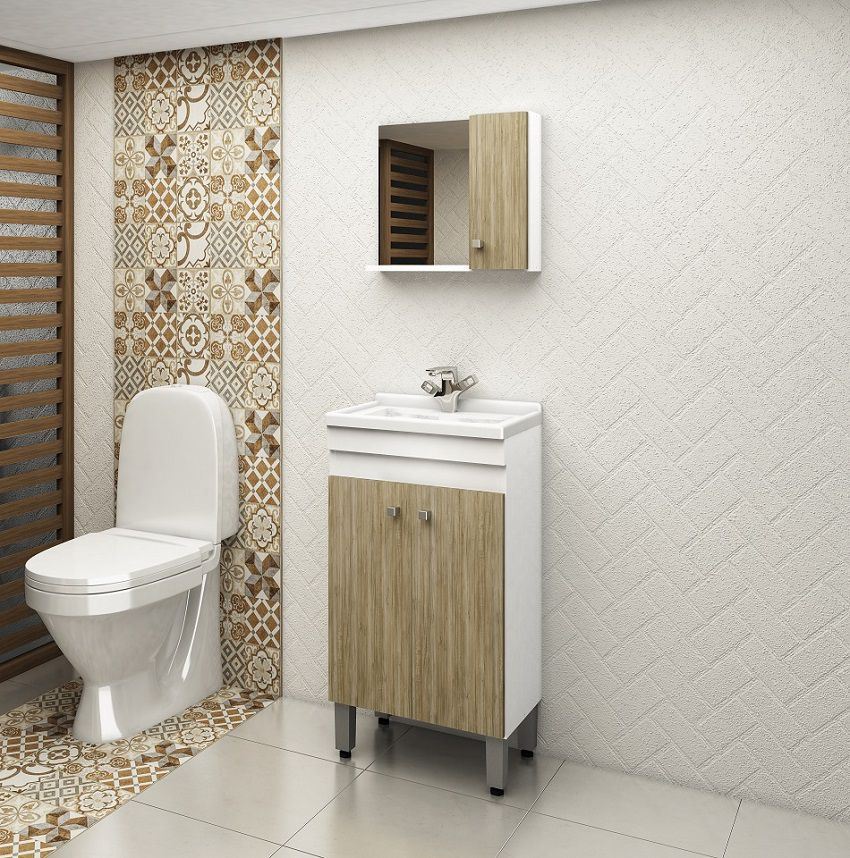 Conjunto de Banheiro com 3 Portas e Prateleira Móvel Ozini Cartagena