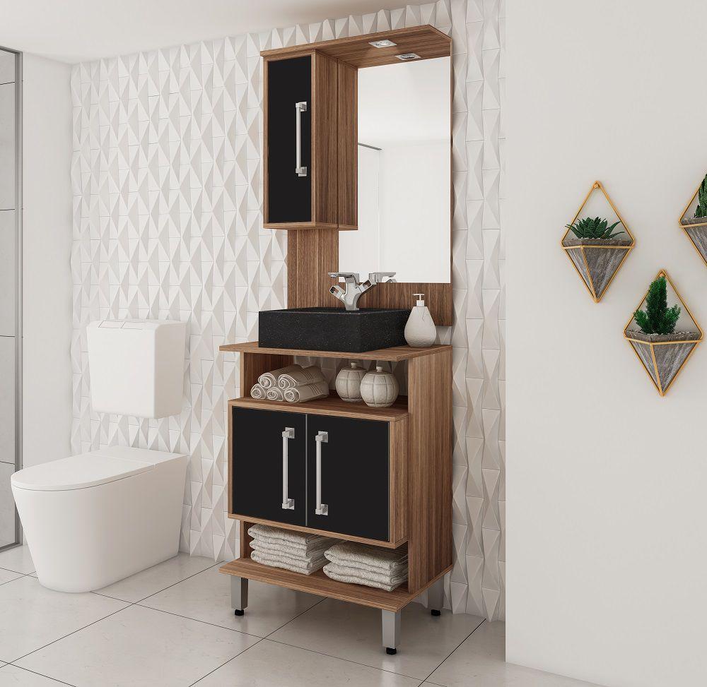 Conjunto de Banheiro com 3 Portas e Prateleira Móvel Ozini Castanho e Preto