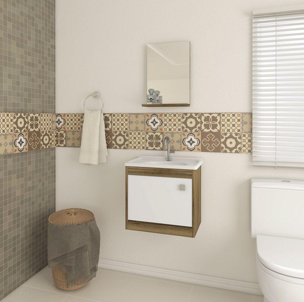Conjunto de Banheiro com Balcão, Cuba e Espelheira Ozini Argel e Branco