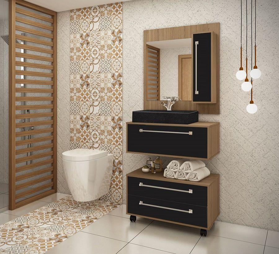 Conjunto de Banheiro Completo com 2 Nichos, Gavetões e Espelheira Ozini Preto e Castanho