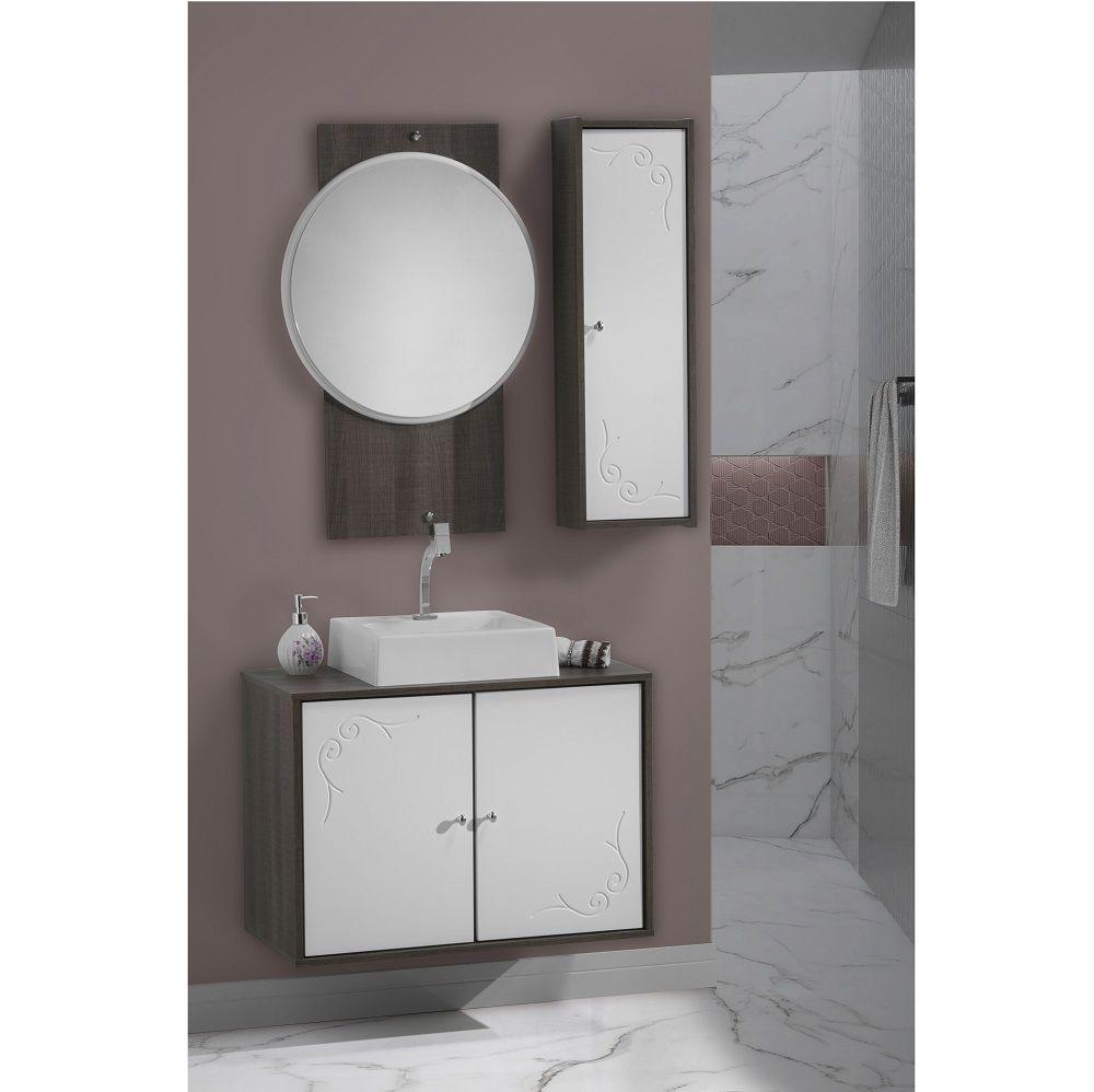 Conjunto de Banheiro França 80cm Completo Branco Laka e Dakota
