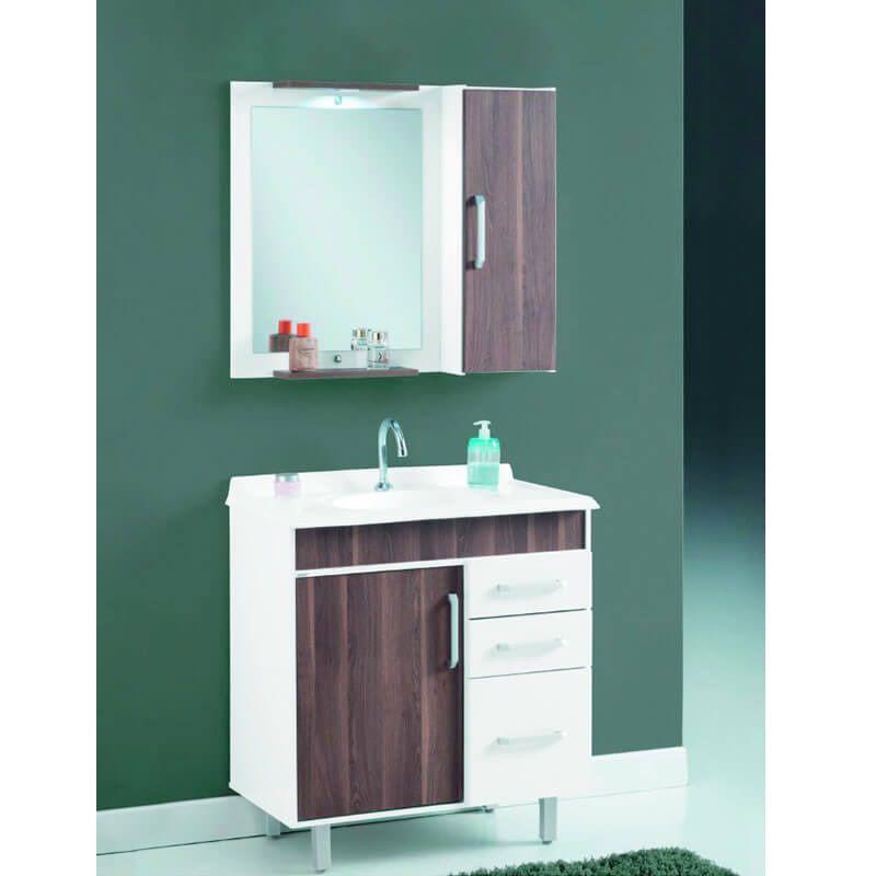 Conjunto de Banheiro Missões 80 cm Branco Laka e Dakota BP