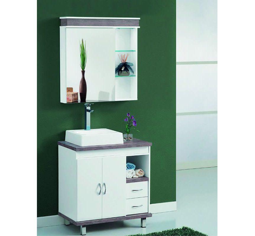 Conjunto de Banheiro Neiva 100 cm Branco Laka e Salina Tato