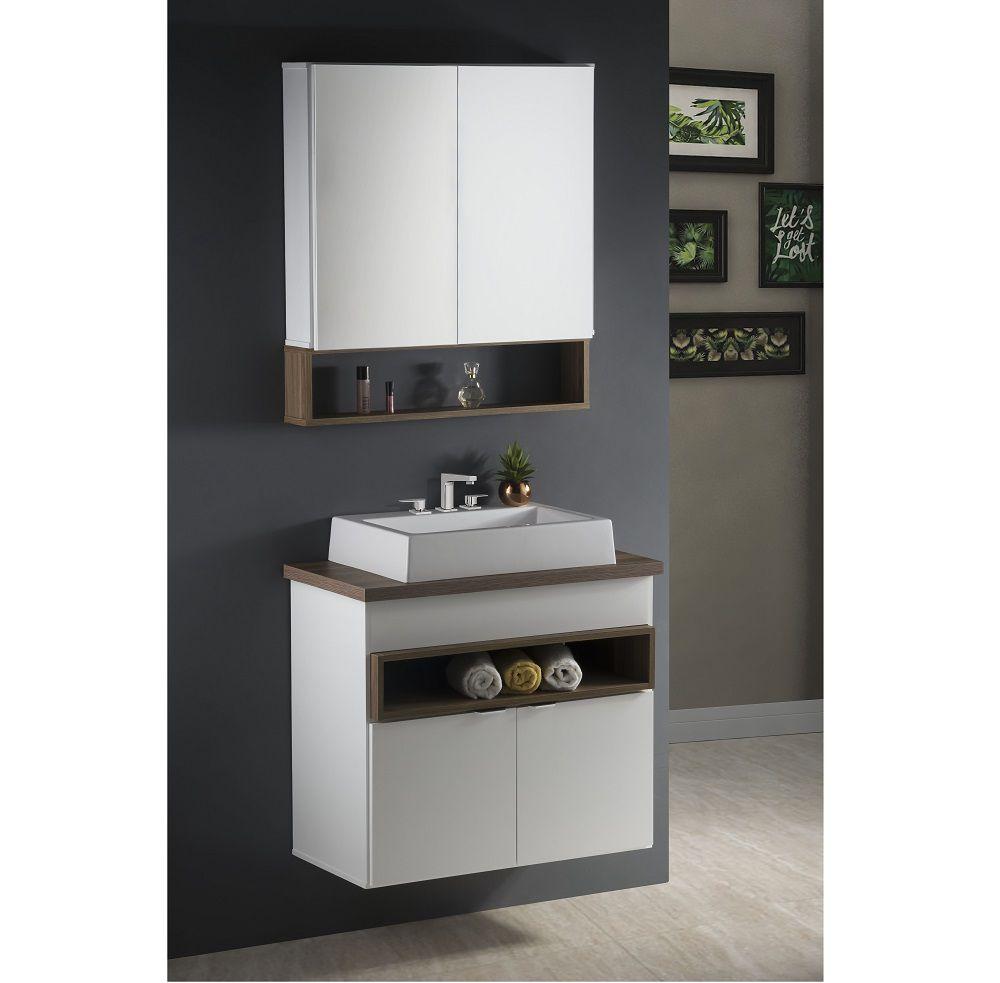 Conjunto de Banheiro Palermo 80cm Completo Branco Laka e Louro Freijó