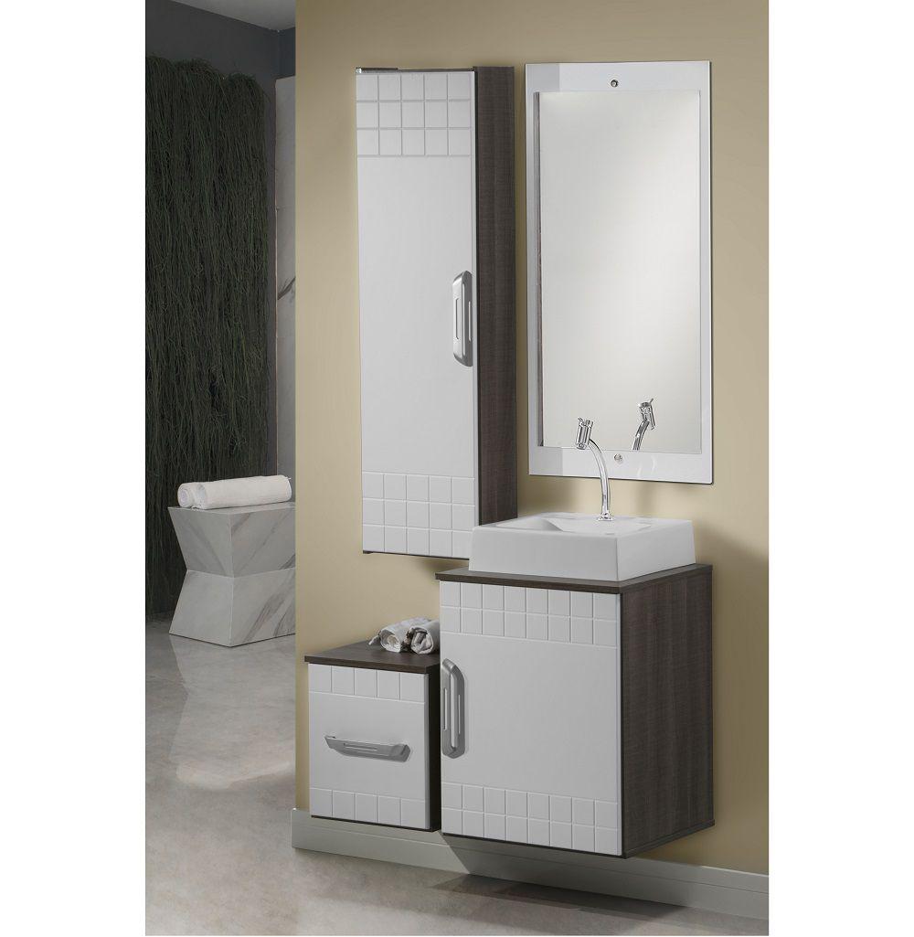Conjunto de Banheiro Stylo 85 cm Completo Branco Laka e Dakota