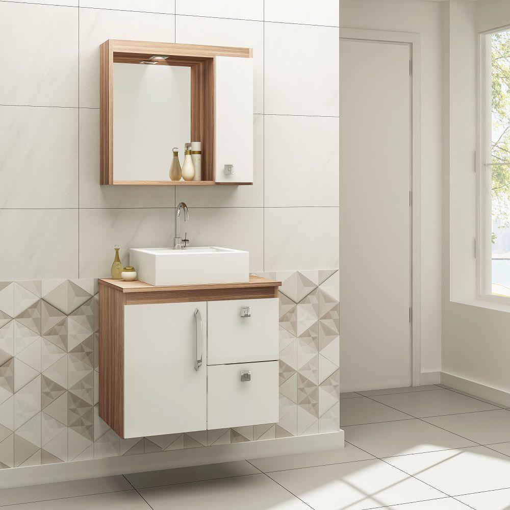 Conjunto de Banheiro Suspenso com 2 Portas e 2 Gavetas Ozini Carvalho Montreal e Branco
