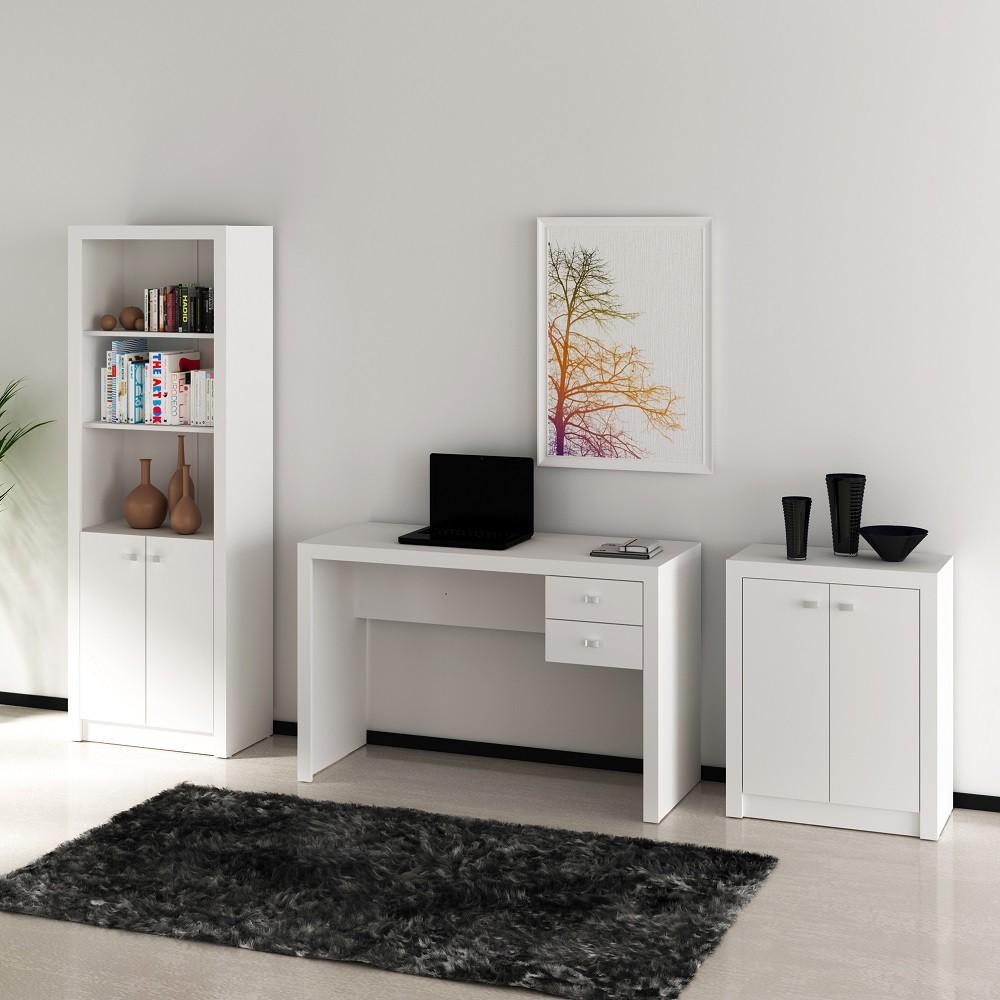 Conjunto de Escritório com Mesa, Armário Alto e Baixo 02 Branco Dallas