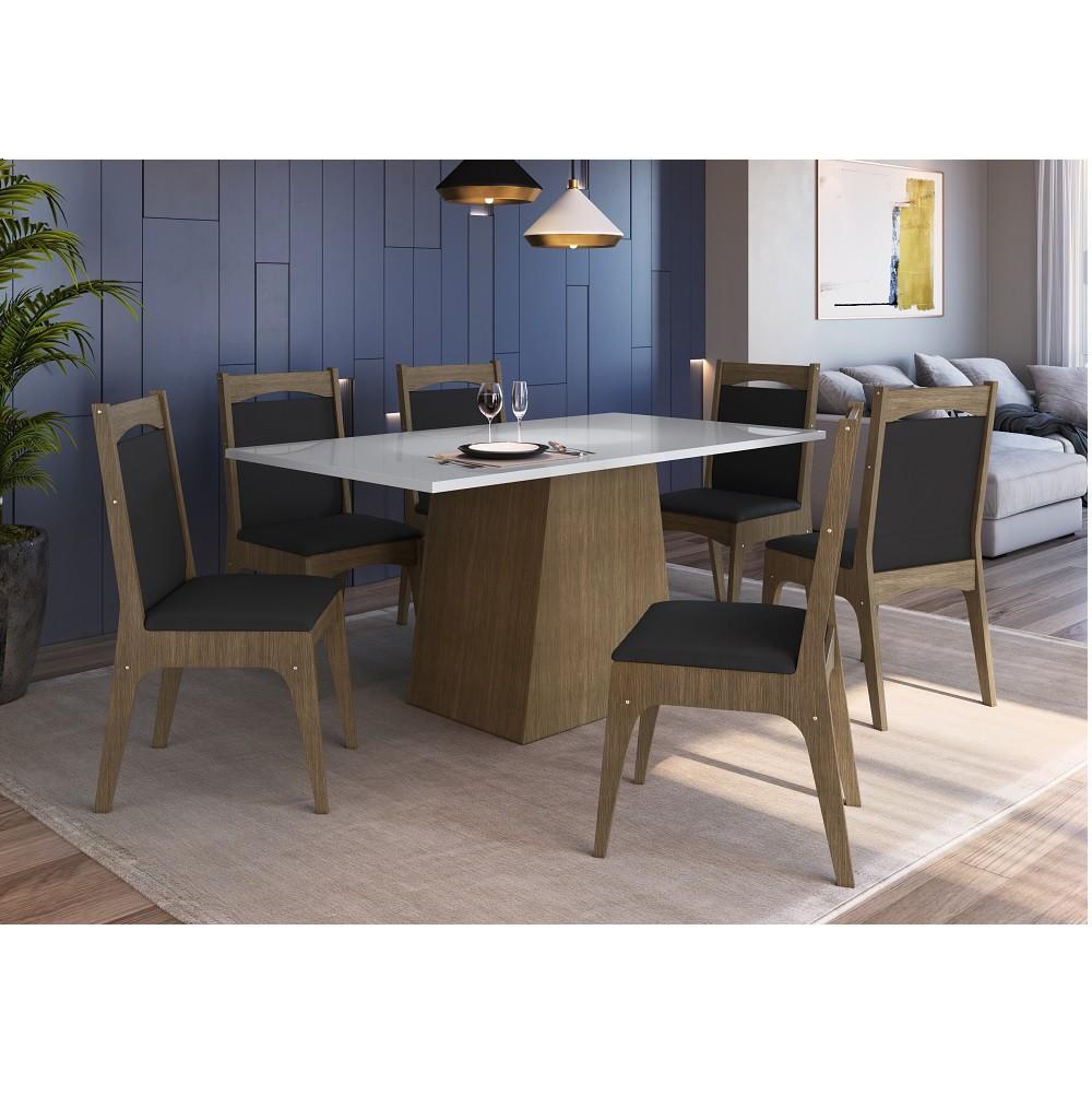 Conjunto de Mesa com Base e 6 Cadeiras Estofadas 11600 Ameixa Negra, Branco e Preto