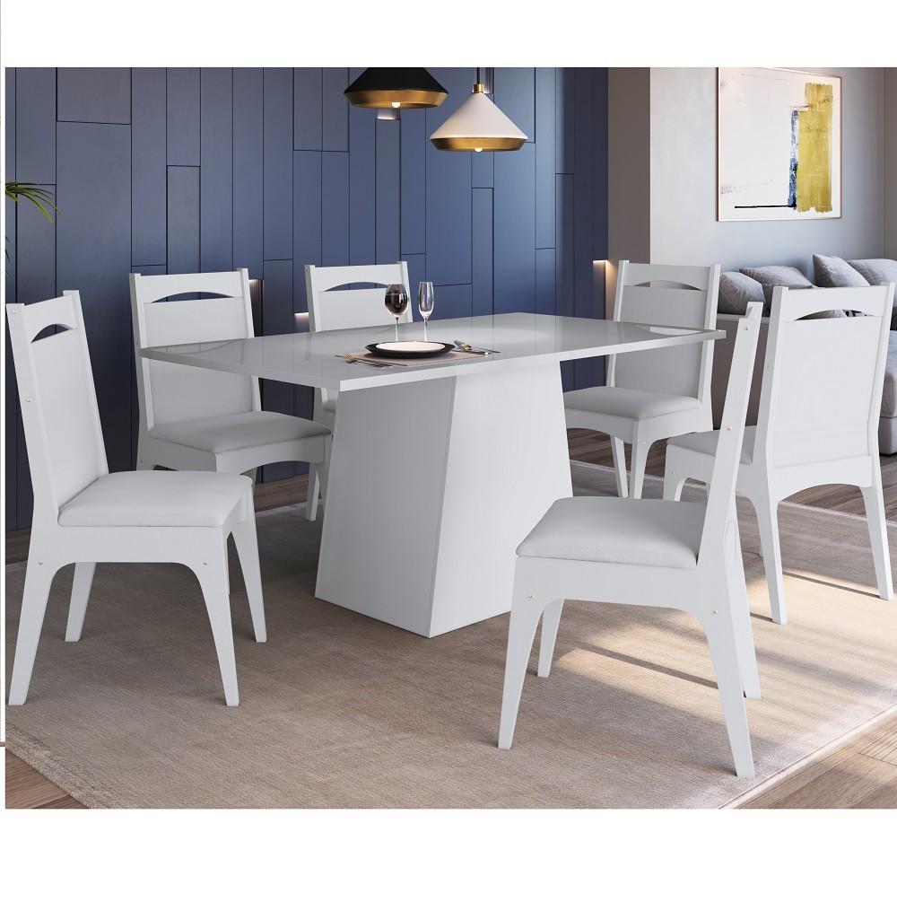 Conjunto de Mesa com Base e 6 Cadeiras Estofadas 11600 Branco
