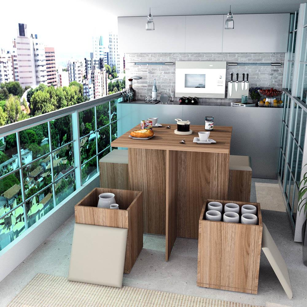 Conjunto para Sala de Jantar com 04 Banquetas Appunto Castanho e Bege 1201-30BG