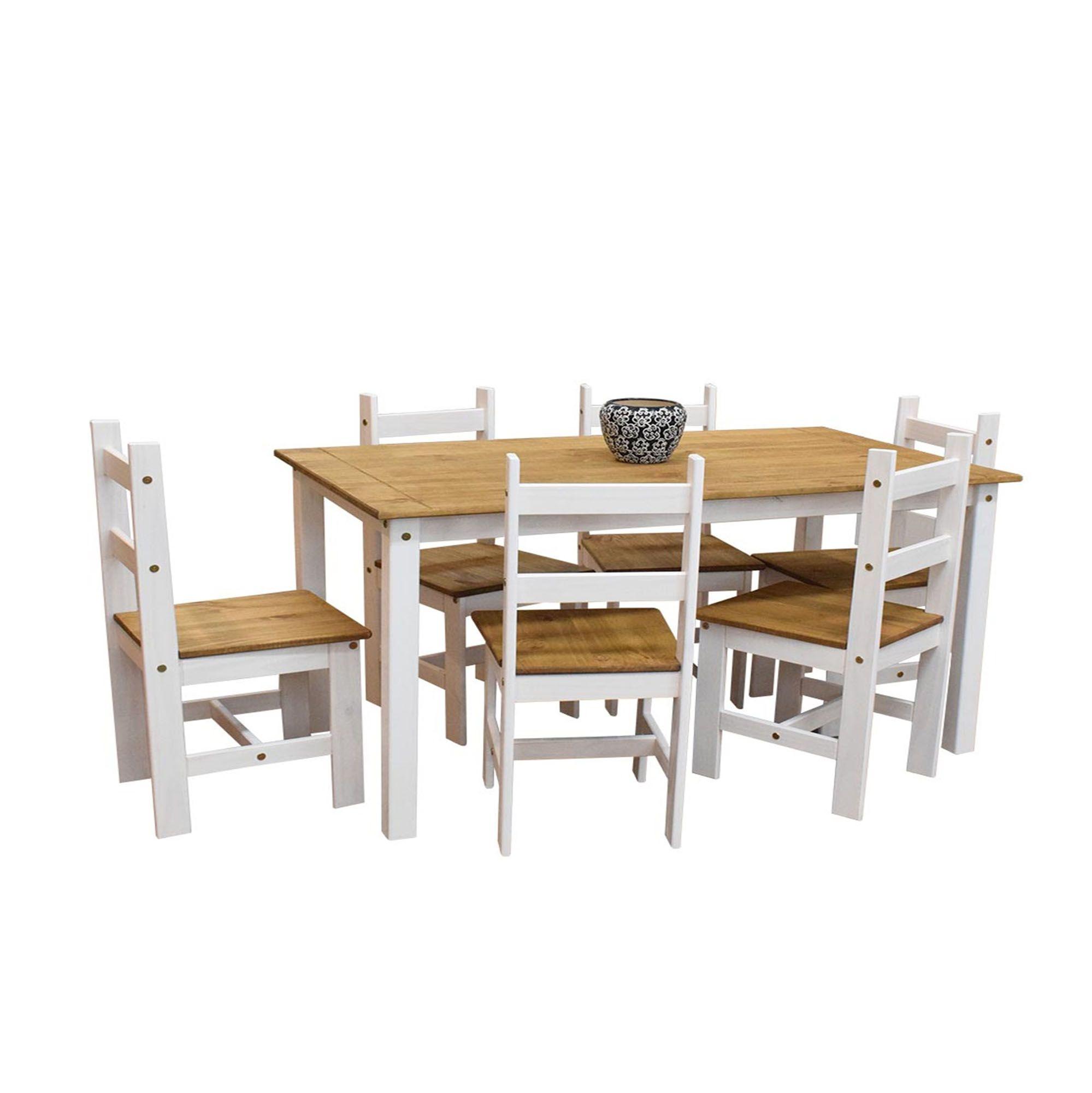 Conjunto Sala de Jantar Joana 1400 Casa da Serra Cera Branco