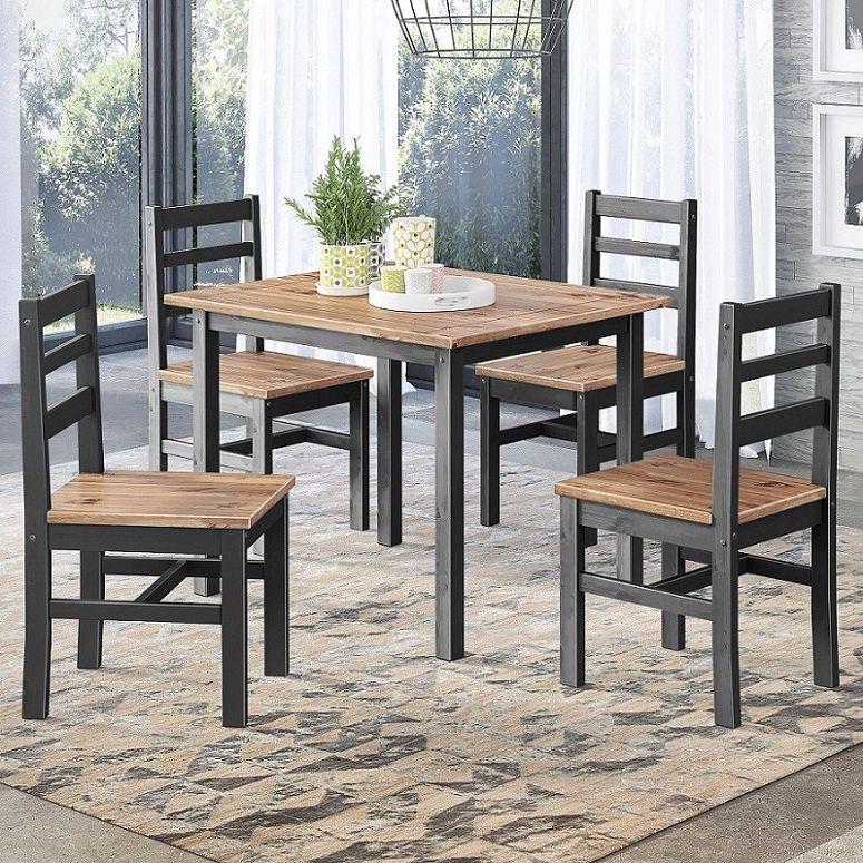 Conjunto Sala de Jantar Júlia com Mesa e 4 Cadeiras Preto e Cera Mel