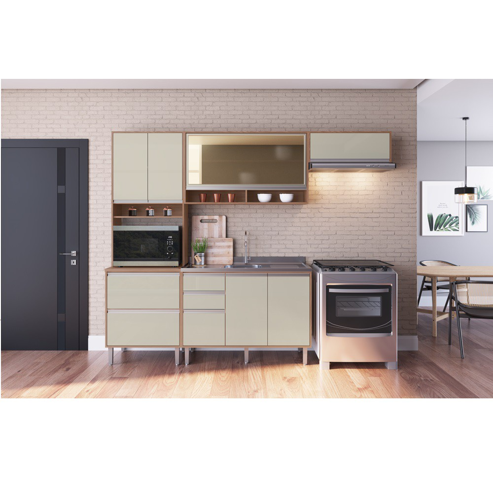 Cozinha Athenas com 9 Portas COA01 Avelã com Cristalo  Decibal