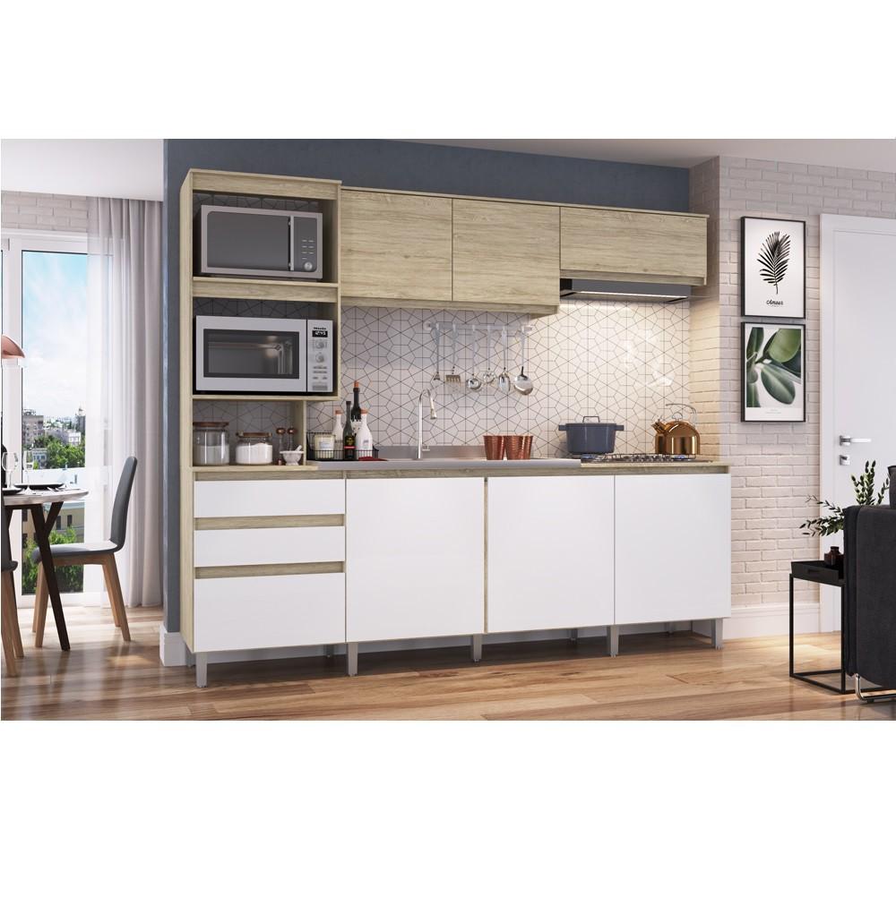 Cozinha Compacta Alecrim com 7 Portas CO2822 Malbec com Branco Brilho