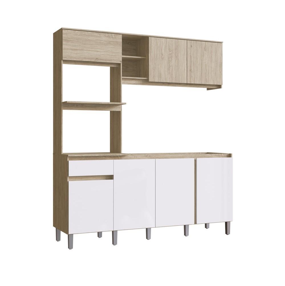 Cozinha Compacta Anis com 7 Portas CO2710 Malbec com Branco Brilho