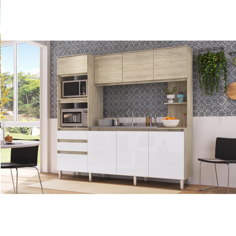 Cozinha Compacta Canela com 8 Portas CO2821 Malbec com Branco Brilho Decibal