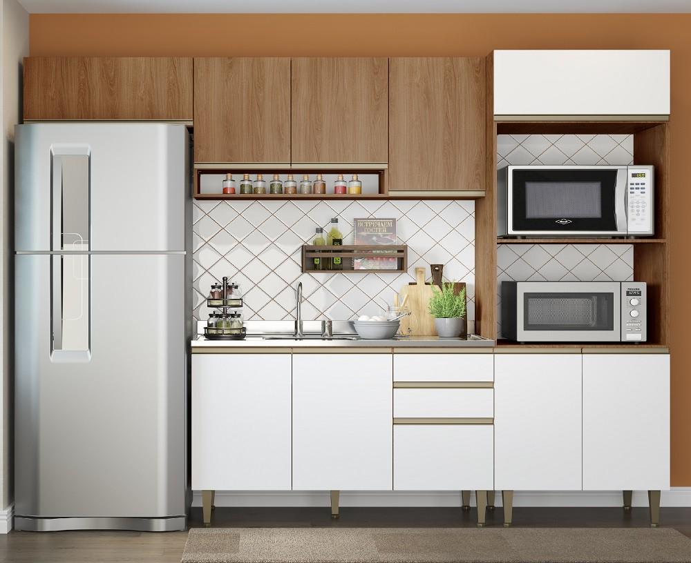 Cozinha compacta com 4 Peças 1 Porta Basculante Cook 9002 Madeira e Branco