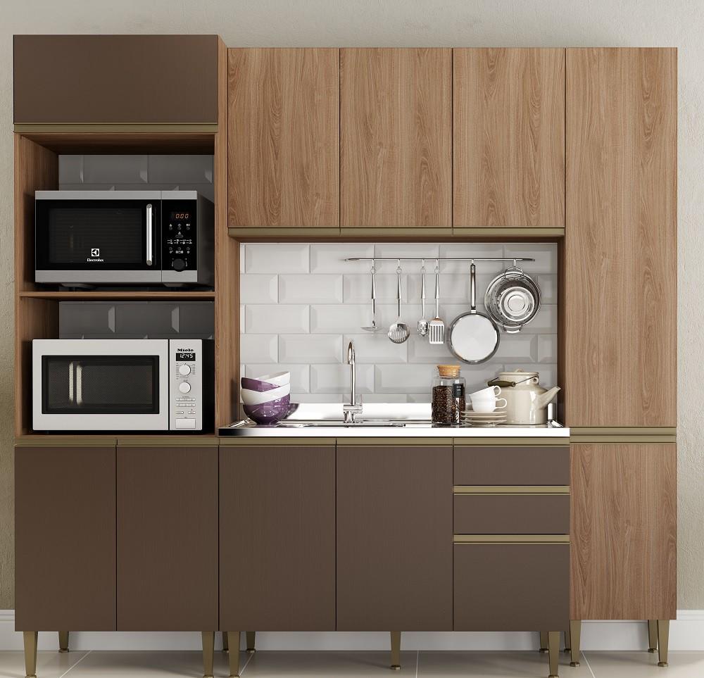 Cozinha Compacta com 4 Peças Cook 9001 Madeira e Oxid