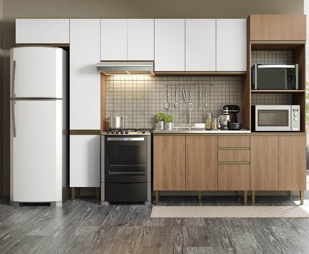 Cozinha Compacta com 6 Peças Cook 9003 Madeira e Branco