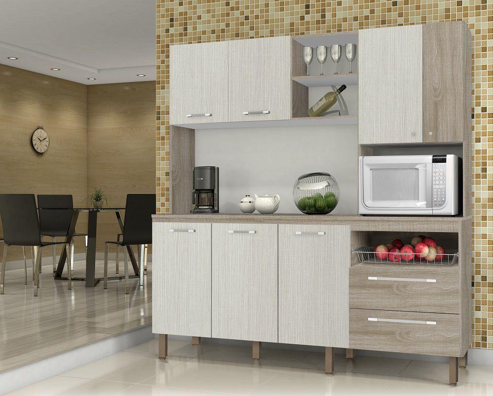 Cozinha Compacta com Tampo Jade 2844 Kit's Paraná Nogal Arena