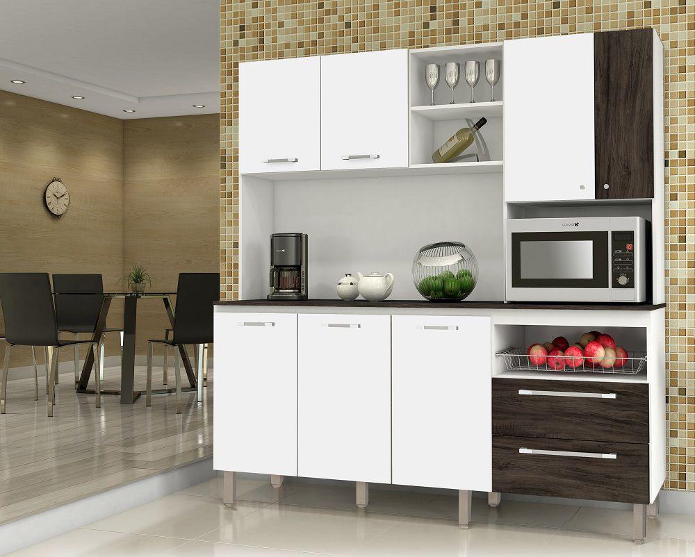 Cozinha Compacta com Tampo Jade 2844 Kit's Paraná Branco Petróleo