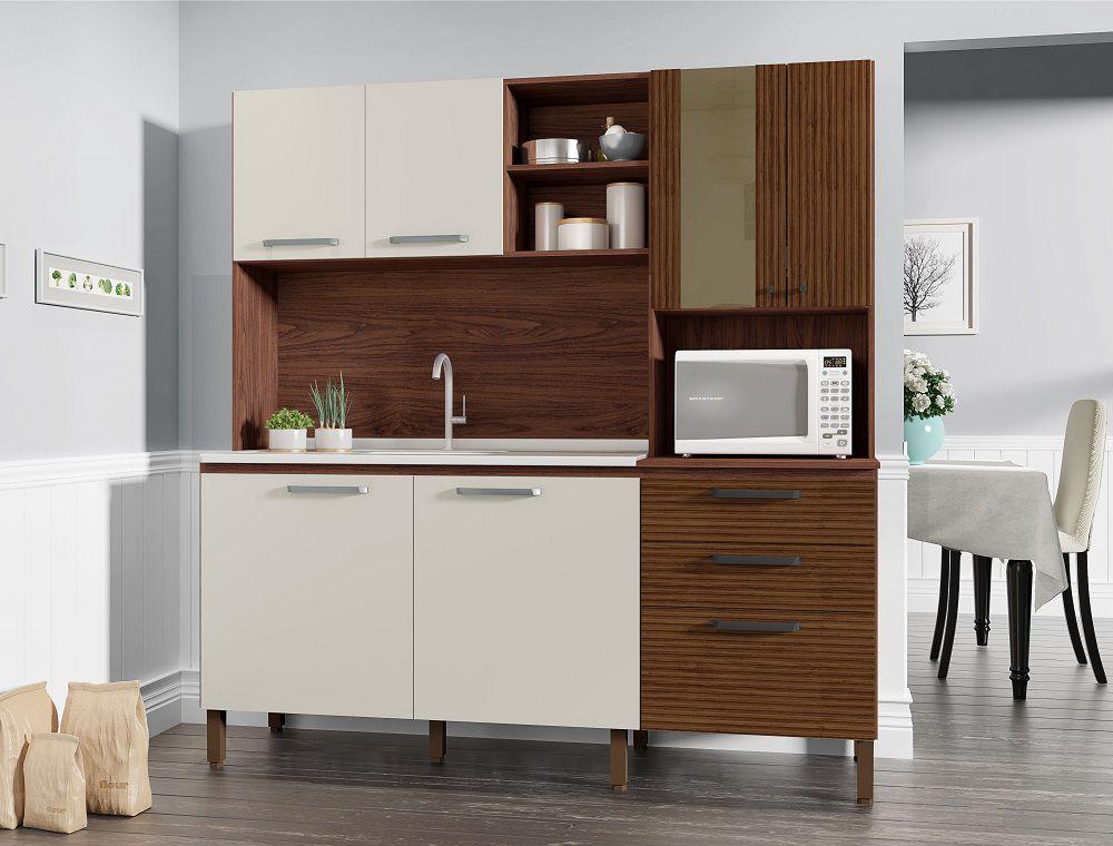 Cozinha Compacta Mega 2928 com 7 Portas Kit's Paraná Nogueira Branco Ripado