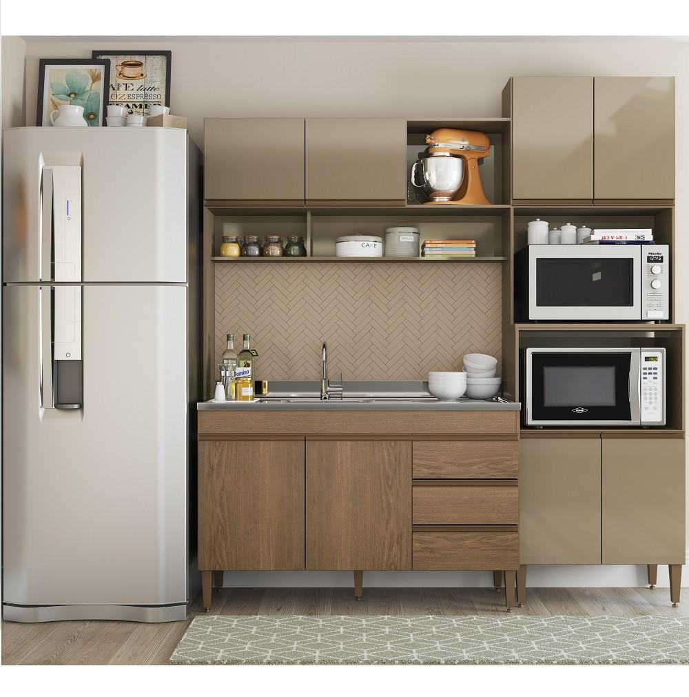 Cozinha Compacta Milena com 8 Portas 0323 Avelã com Gianduia Soluzione