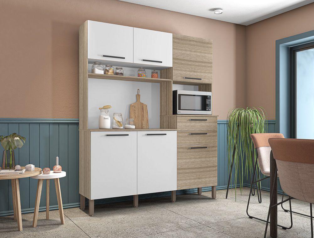 Cozinha Compacta Montesa 2907 Kit's Paraná Nogal Branco