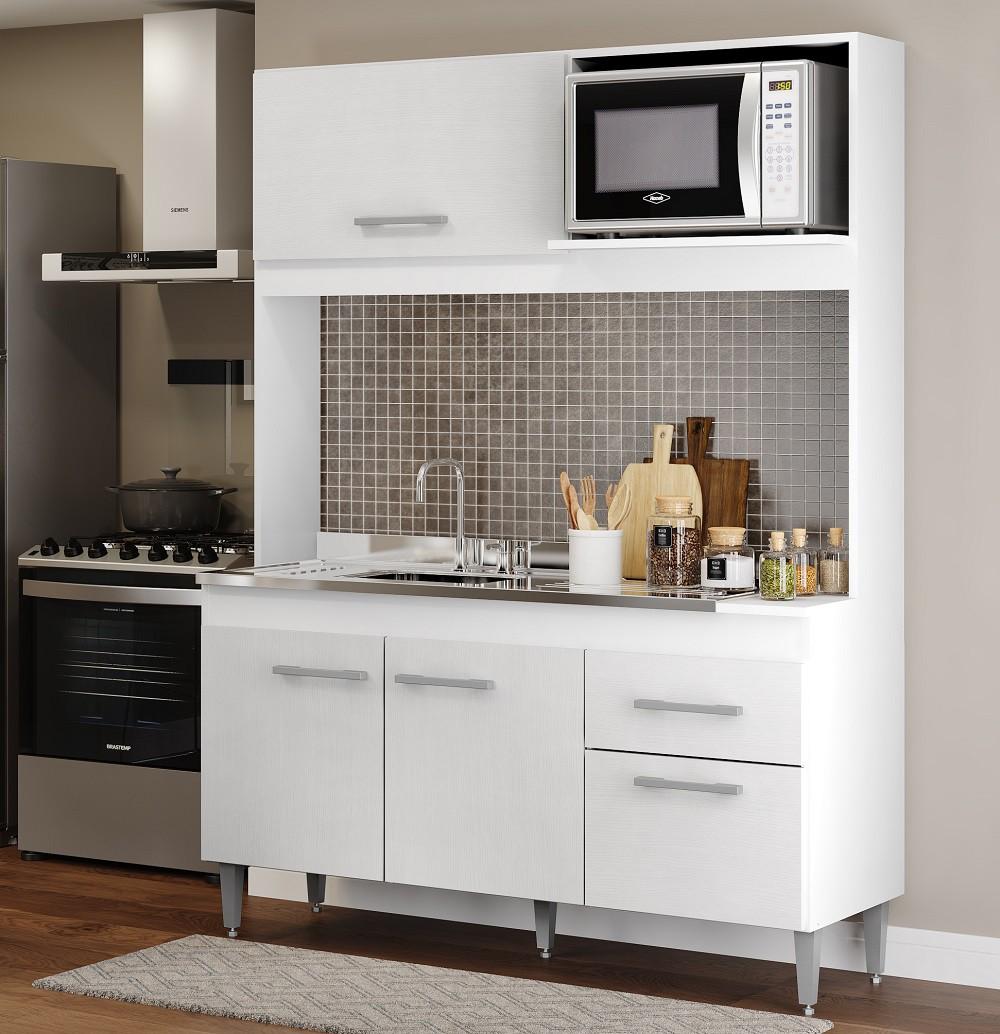Cozinha Compacta Sara com 4 Portas 0322 Branco Soluzione