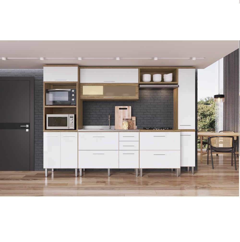 Cozinha Flip com 7 Portas CF400P Wood com Branco Decibal