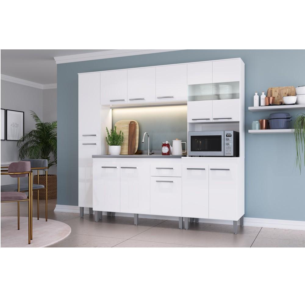 Cozinha Joy com 12 Portas e Prateleiras COJ01 Branco Decibal