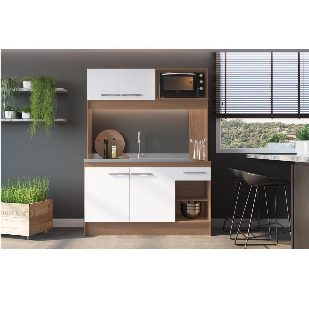 Cozinha New Delta com 4 Portas e 1 Gaveta CON7070 Avela com Branco Decibal