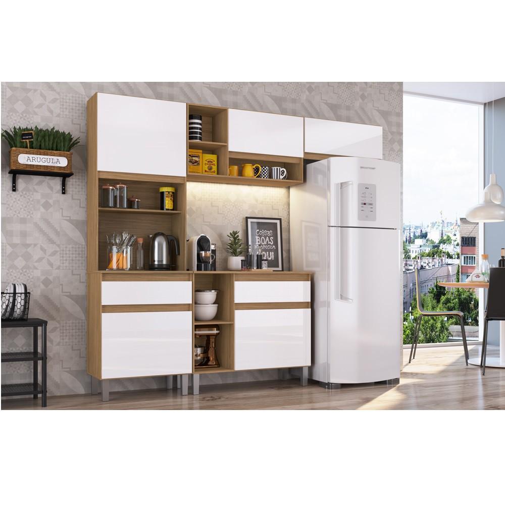 Cozinha Pimenta com 5 Portas e Prateleiras COPI02 Naturalle e Branco Decibal