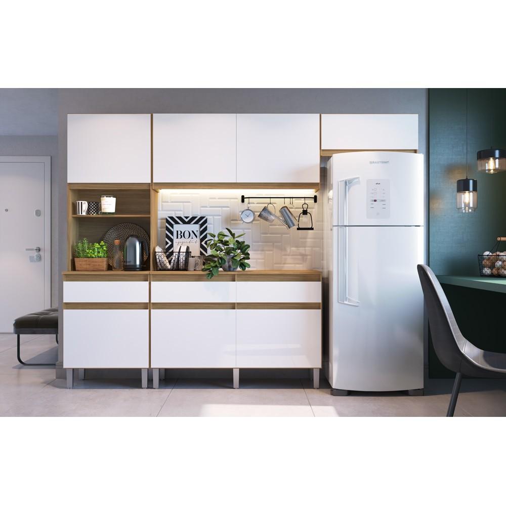 Cozinha Pimenta com 7 Portas e 3 Gavetas COPI01 Naturalle e Branco Decibal
