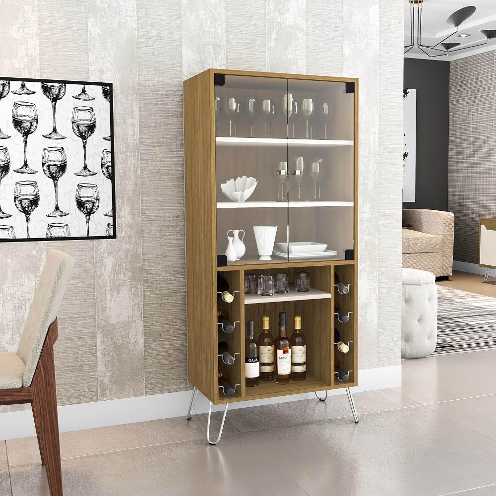 Cristaleira Scala com 2 Portas de Vidro e Adega Cinamomo e Off White